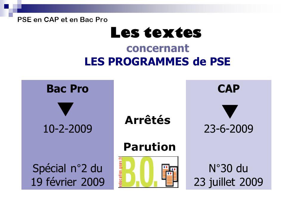 PSE en CAP et en Bac Pro Les textes concernant LES PROGRAMMES de PSE Bac Pro 10-2-2009 Spécial n°2 du 19 février 2009 CAP 23-6-2009 N°30 du 23 juillet