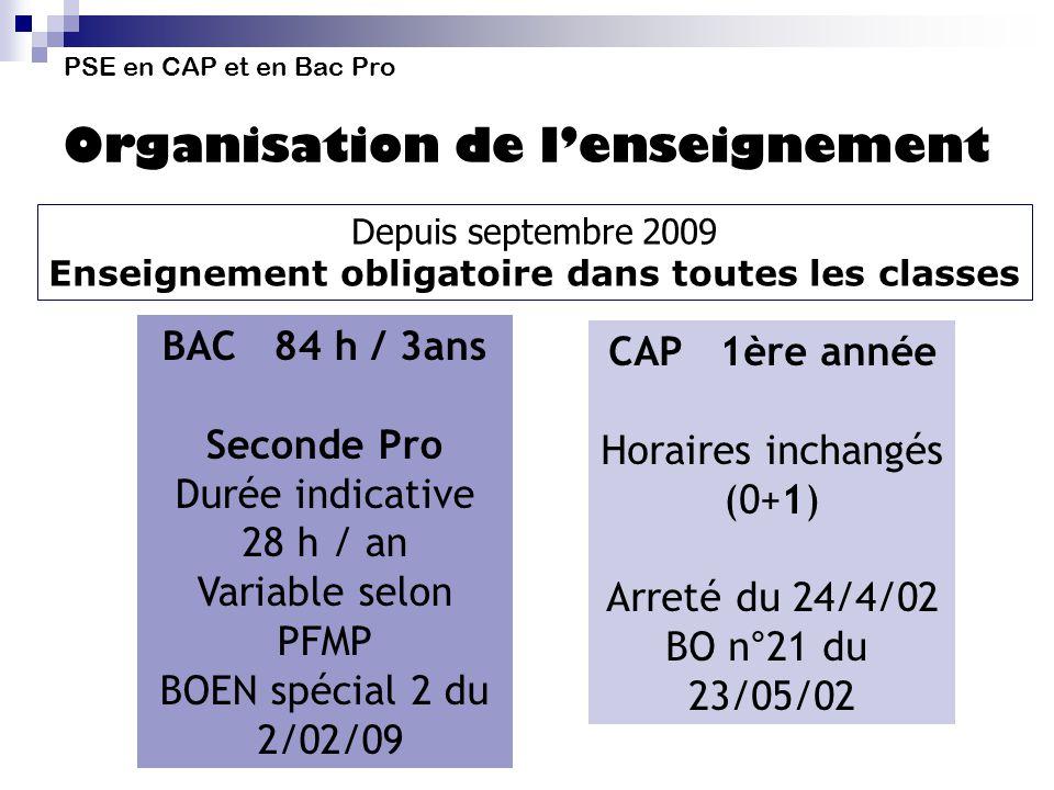 PSE en CAP et en Bac Pro Organisation de lenseignement Depuis septembre 2009 Enseignement obligatoire dans toutes les classes BAC 84 h / 3ans Seconde