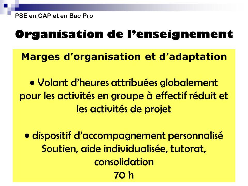 PSE en CAP et en Bac Pro Organisation de lenseignement Marges dorganisation et dadaptation Volant dheures attribuées globalement pour les activités en