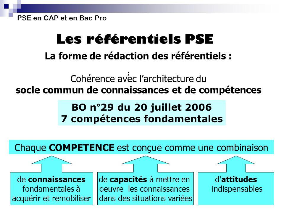 La forme de rédaction des référentiels : Cohérence avec larchitecture du socle commun de connaissances et de compétences PSE en CAP et en Bac Pro Les