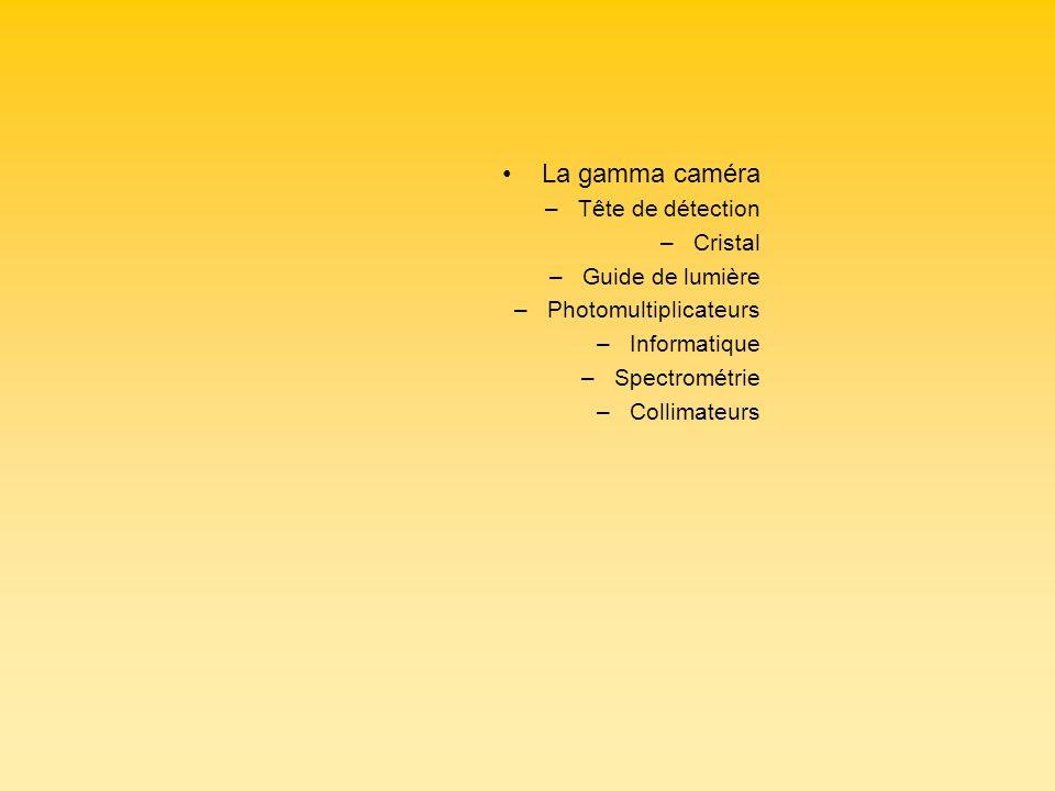 La gamma caméra –Tête de détection –Cristal –Guide de lumière –Photomultiplicateurs –Informatique –Spectrométrie –Collimateurs
