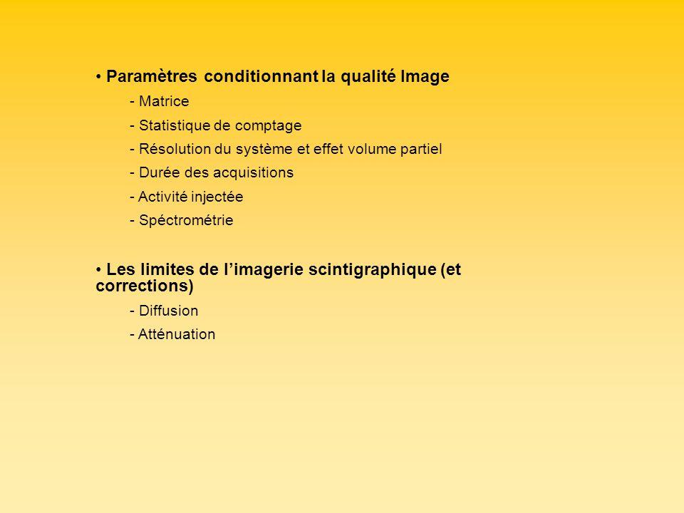 Paramètres conditionnant la qualité Image - Matrice - Statistique de comptage - Résolution du système et effet volume partiel - Durée des acquisitions