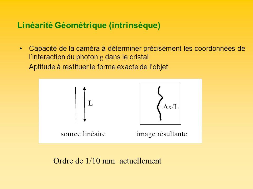 Linéarité Géométrique (intrinsèque) Capacité de la caméra à déterminer précisément les coordonnées de linteraction du photon g dans le cristal Aptitud