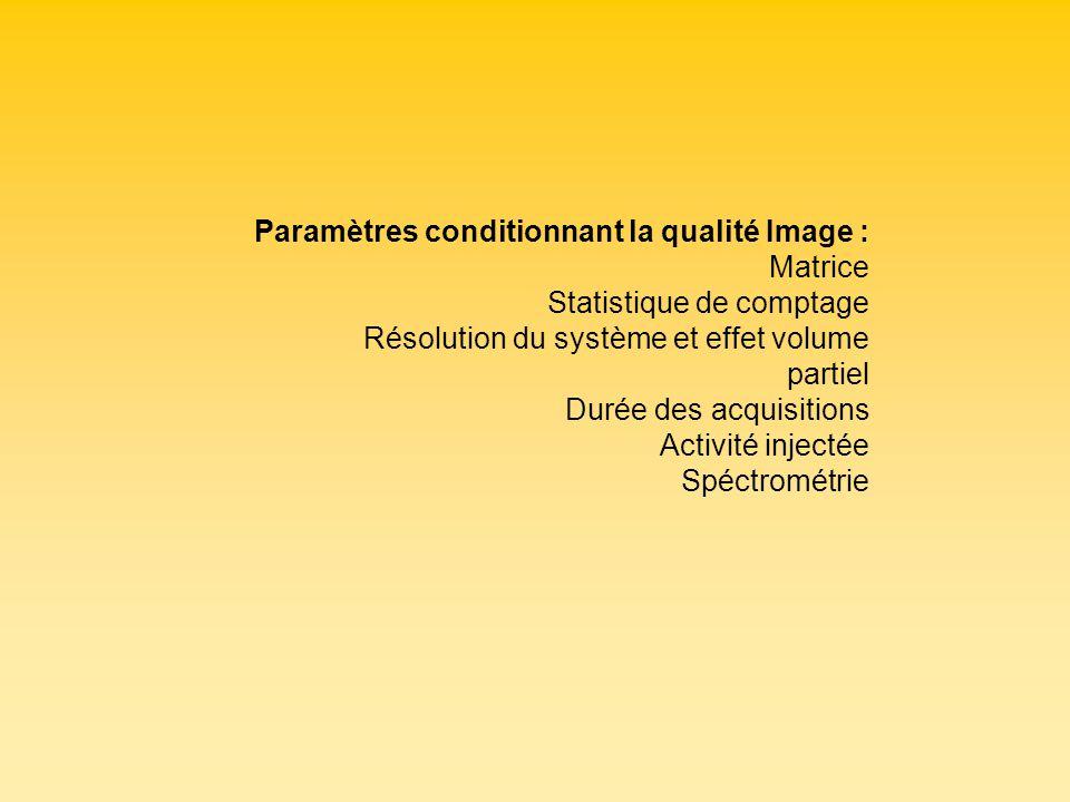 Paramètres conditionnant la qualité Image : Matrice Statistique de comptage Résolution du système et effet volume partiel Durée des acquisitions Activ