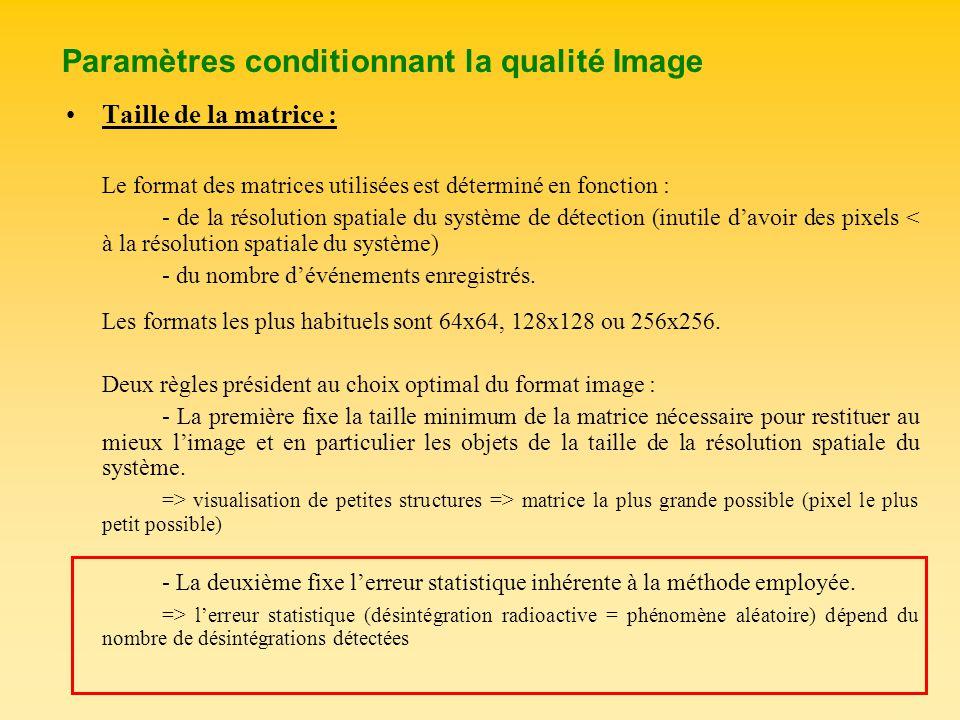 Paramètres conditionnant la qualité Image Taille de la matrice : Le format des matrices utilisées est déterminé en fonction : - de la résolution spati