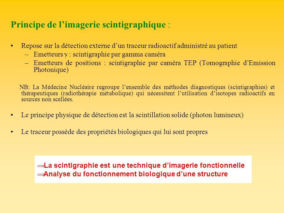 Principe de limagerie scintigraphique : Repose sur la détection externe dun traceur radioactif administré au patient –Emetteurs : scintigraphie par ga