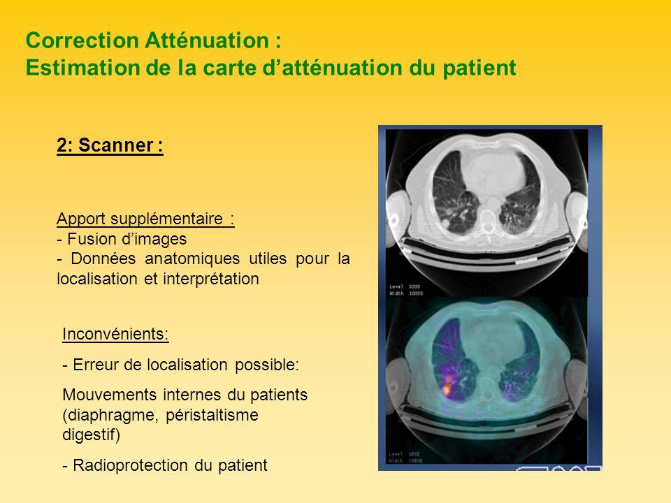 Correction Atténuation : Estimation de la carte datténuation du patient Apport supplémentaire : - Fusion dimages - Données anatomiques utiles pour la