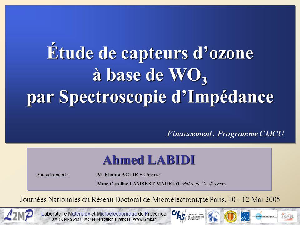 Laboratoire Matériaux et Microélectronique de Provence UMR CNRS 6137 - Marseille/Toulon (France) - www.l2mp.fr Ahmed LABIDI Journées Nationales du Rés