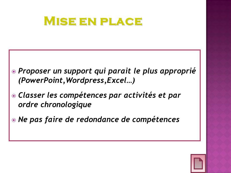 Proposer un support qui parait le plus approprié (PowerPoint,Wordpress,Excel…) Classer les compétences par activités et par ordre chronologique Ne pas faire de redondance de compétences Mise en place