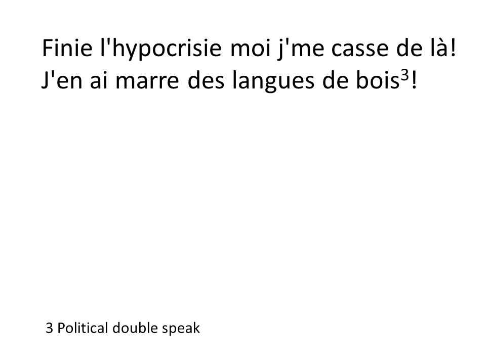 Finie l'hypocrisie moi j'me casse de là! J'en ai marre des langues de bois 3 ! 3 Political double speak