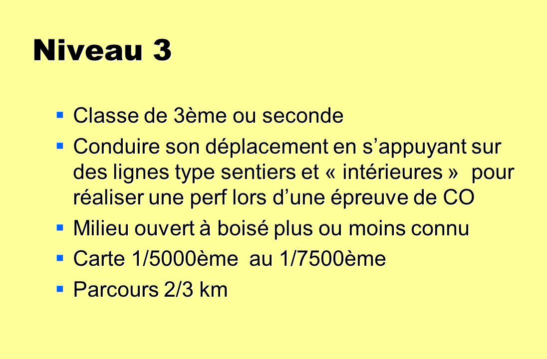 Niveau 3 Classe de 3ème ou seconde Classe de 3ème ou seconde Conduire son déplacement en sappuyant sur des lignes type sentiers et « intérieures » pou