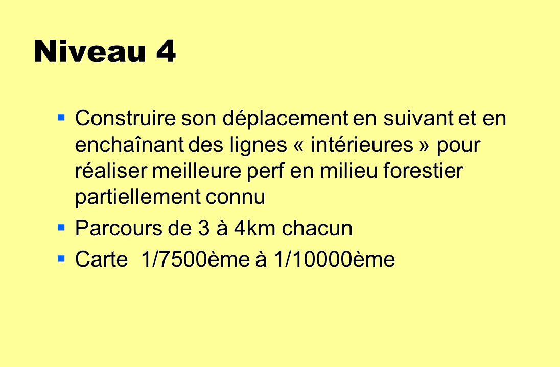 Niveau 4 Construire son déplacement en suivant et en enchaînant des lignes « intérieures » pour réaliser meilleure perf en milieu forestier partiellem