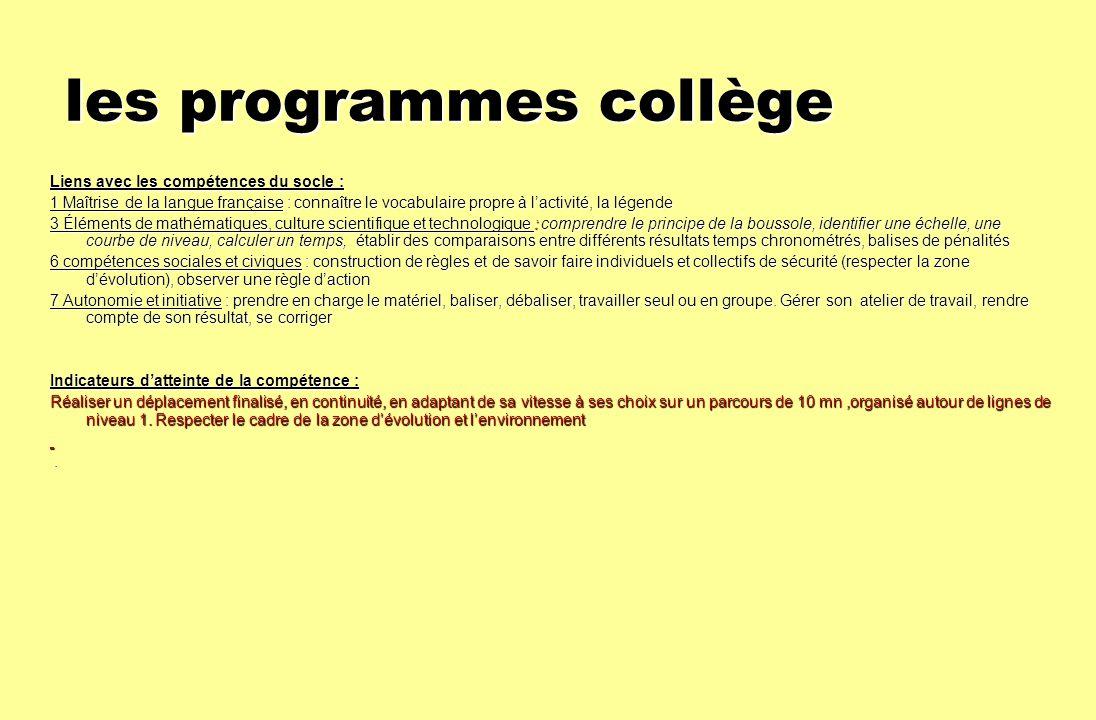les programmes collège Liens avec les compétences du socle : 1 Maîtrise de la langue française : connaître le vocabulaire propre à lactivité, la légen
