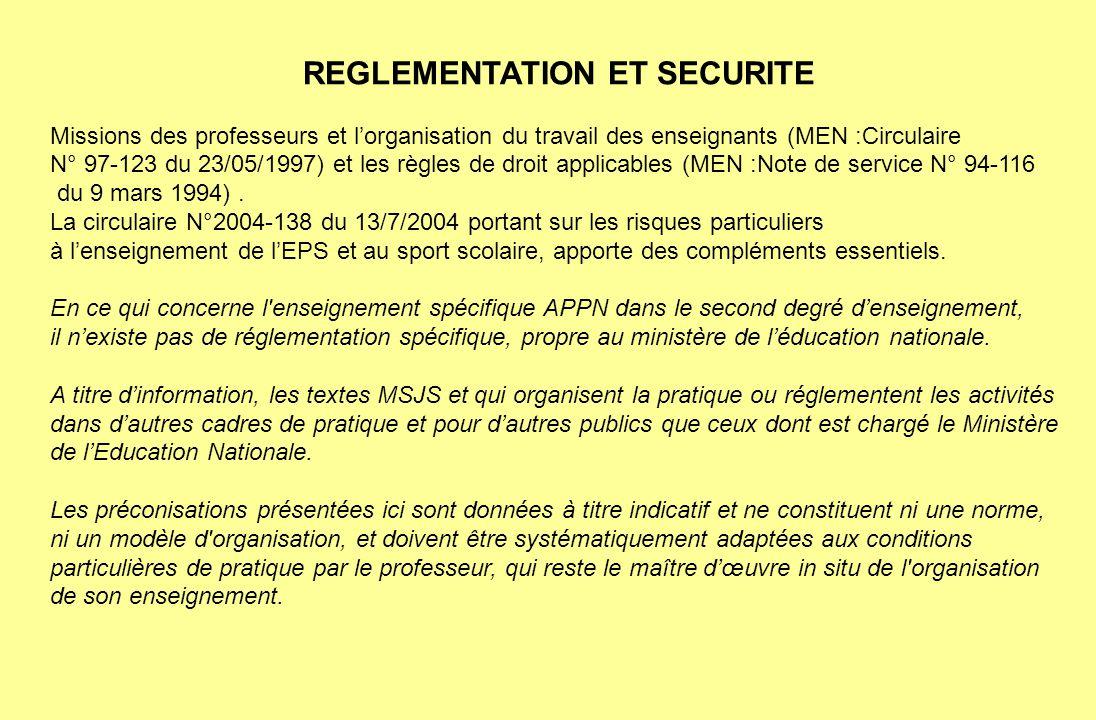 REGLEMENTATION ET SECURITE Missions des professeurs et lorganisation du travail des enseignants (MEN :Circulaire N° 97-123 du 23/05/1997) et les règle