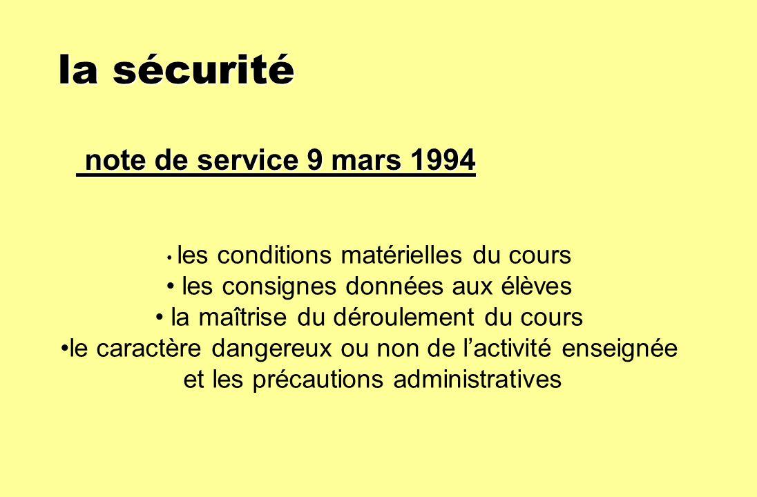 la sécurité la sécurité note de service 9 mars 1994 note de service 9 mars 1994 les conditions matérielles du cours les consignes données aux élèves l