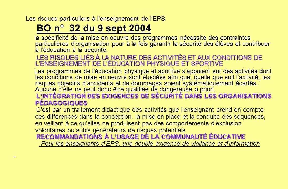 Les risques particuliers à lenseignement de lEPS BO n° 32 du 9 sept 2004 BO n° 32 du 9 sept 2004 la spécificité de la mise en oeuvre des programmes né