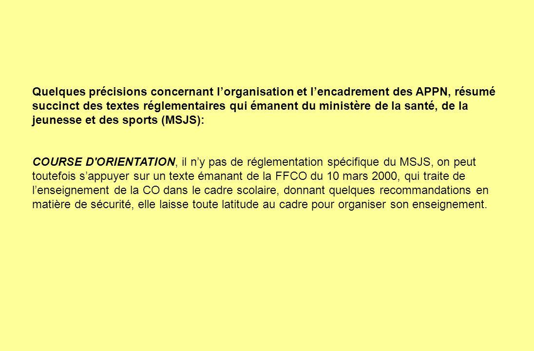 Quelques précisions concernant lorganisation et lencadrement des APPN, résumé succinct des textes réglementaires qui émanent du ministère de la santé,