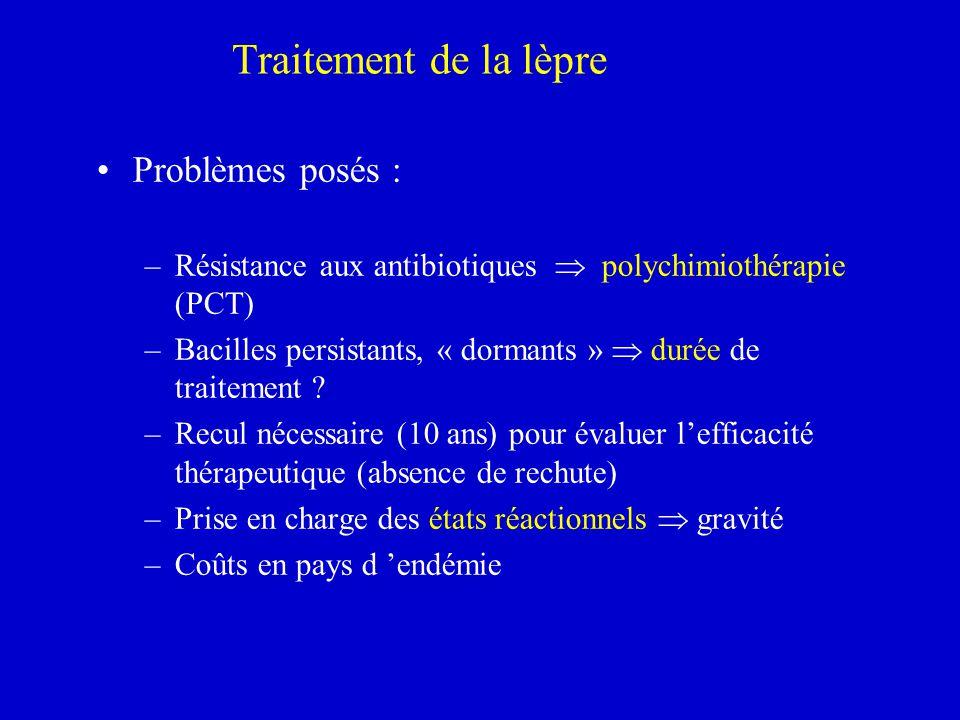 Traitement de la lèpre Problèmes posés : –Résistance aux antibiotiques polychimiothérapie (PCT) –Bacilles persistants, « dormants » durée de traitemen
