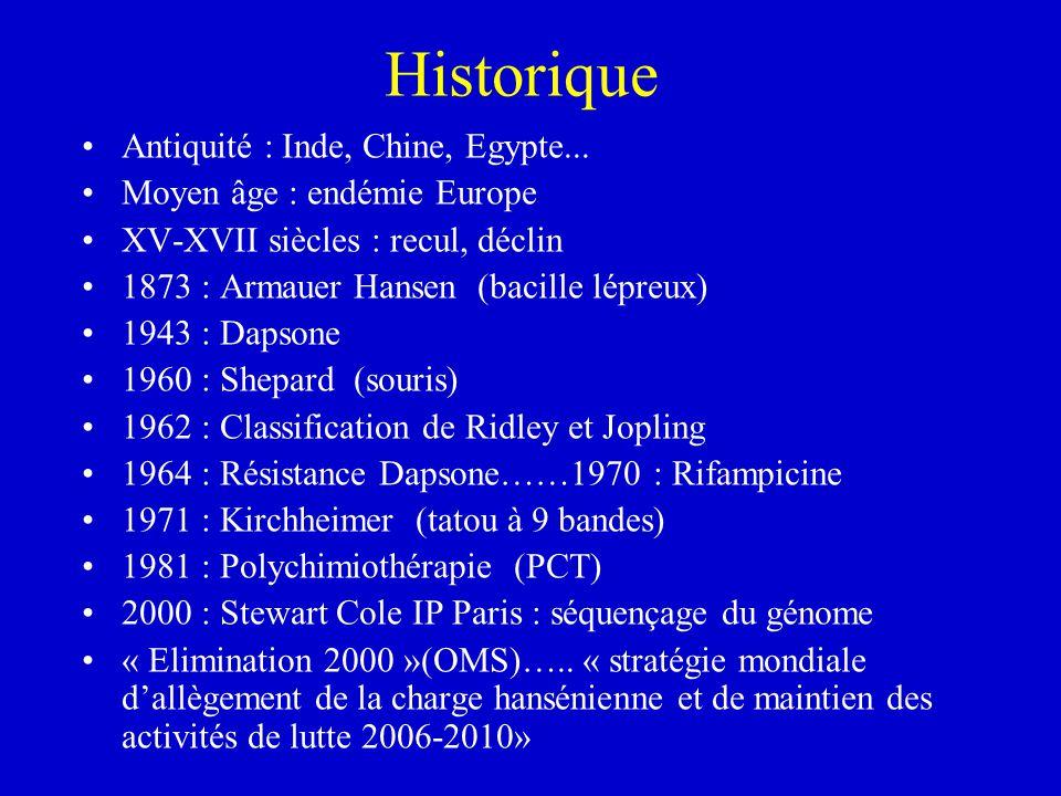 Historique Antiquité : Inde, Chine, Egypte... Moyen âge : endémie Europe XV-XVII siècles : recul, déclin 1873 : Armauer Hansen (bacille lépreux) 1943