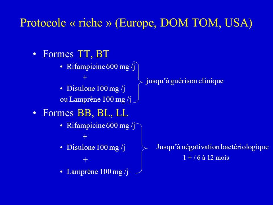 Protocole « riche » (Europe, DOM TOM, USA) Formes TT, BT Rifampicine 600 mg /j + Disulone 100 mg /j ou Lamprène 100 mg /j Formes BB, BL, LL Rifampicin