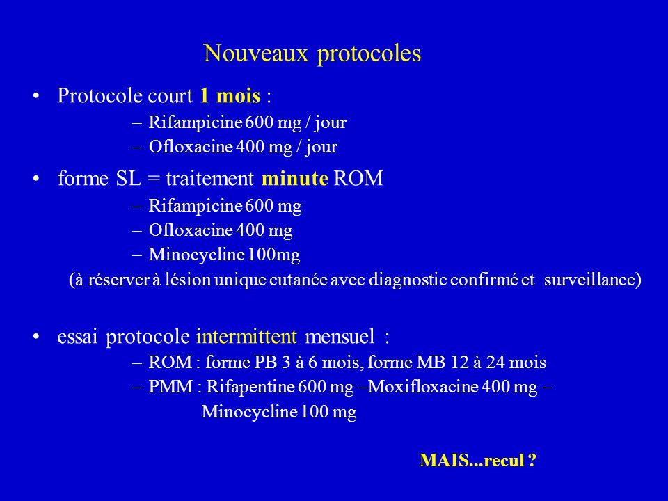 Nouveaux protocoles Protocole court 1 mois : –Rifampicine 600 mg / jour –Ofloxacine 400 mg / jour forme SL = traitement minute ROM –Rifampicine 600 mg