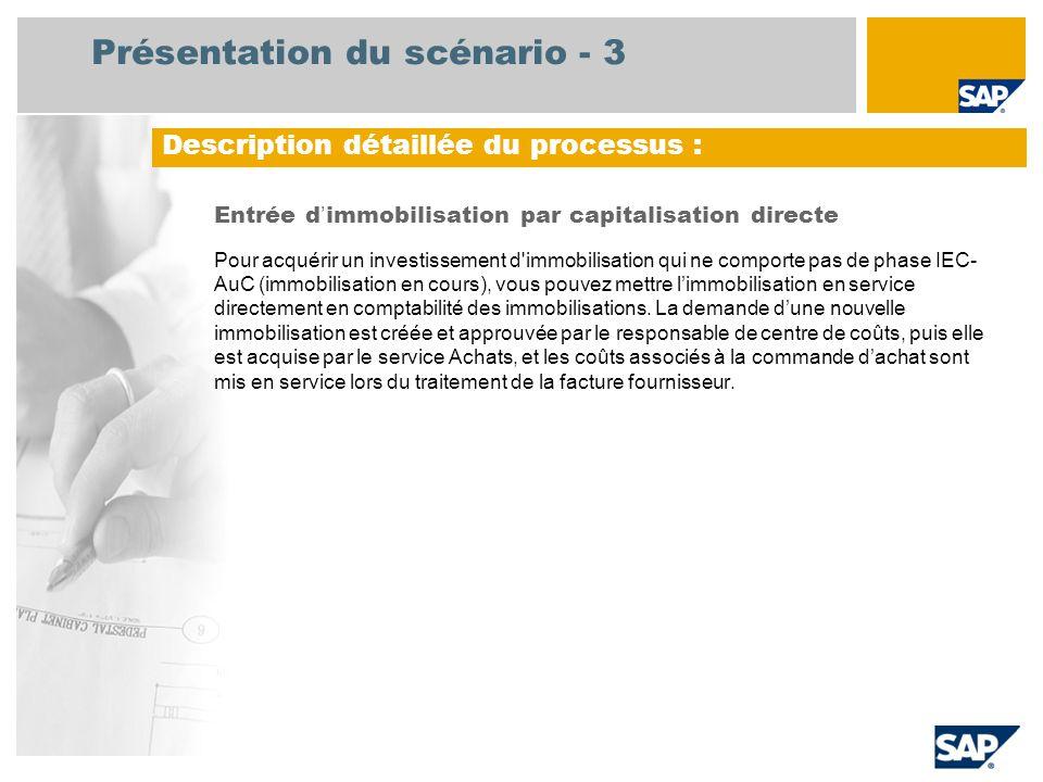 Présentation du scénario - 3 Entrée d immobilisation par capitalisation directe Pour acquérir un investissement d'immobilisation qui ne comporte pas d