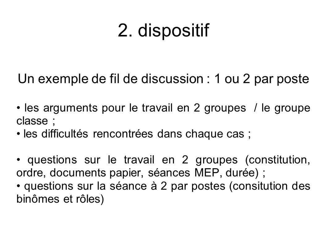 Un exemple de fil de discussion : 1 ou 2 par poste les arguments pour le travail en 2 groupes / le groupe classe ; les difficultés rencontrées dans chaque cas ; questions sur le travail en 2 groupes (constitution, ordre, documents papier, séances MEP, durée) ; questions sur la séance à 2 par postes (consitution des binômes et rôles)
