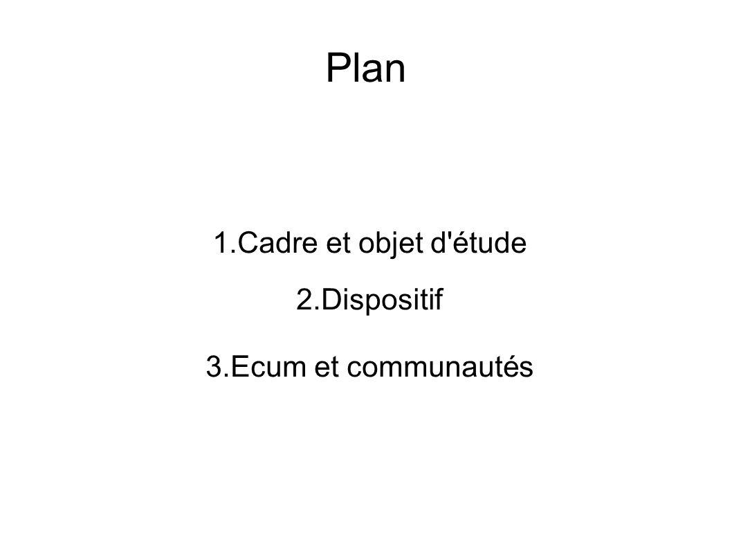Plan 1.Cadre et objet d étude 2.Dispositif 3.Ecum et communautés