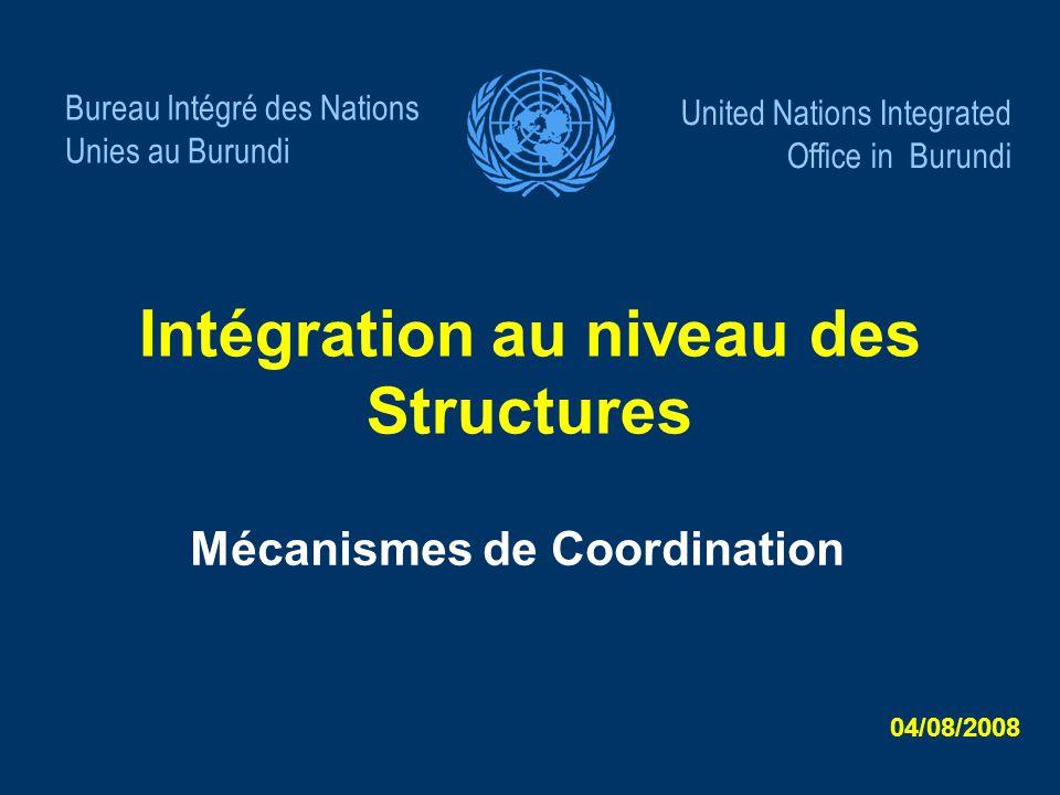 Intégration au niveau des Structures Mécanismes de Coordination Bureau Intégré des Nations Unies au Burundi United Nations Integrated Office in Burund