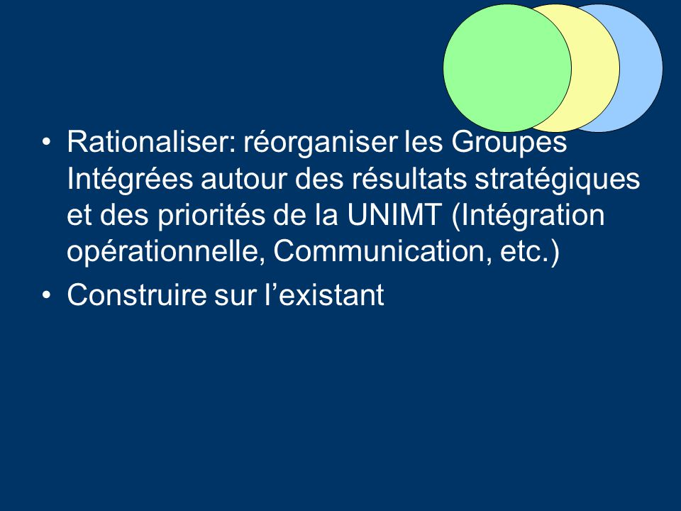 Rationaliser: réorganiser les Groupes Intégrées autour des résultats stratégiques et des priorités de la UNIMT (Intégration opérationnelle, Communication, etc.) Construire sur lexistant