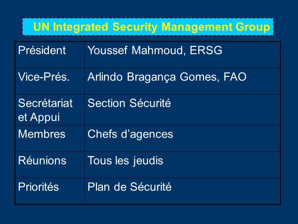 UN Integrated Security Management Group PrésidentYoussef Mahmoud, ERSG Vice-Prés.Arlindo Bragança Gomes, FAO Secrétariat et Appui Section Sécurité MembresChefs dagences RéunionsTous les jeudis PrioritésPlan de Sécurité