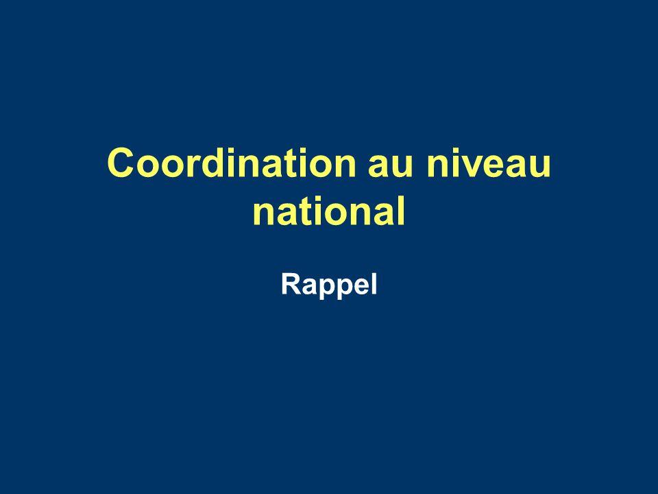 Coordination au niveau national Rappel