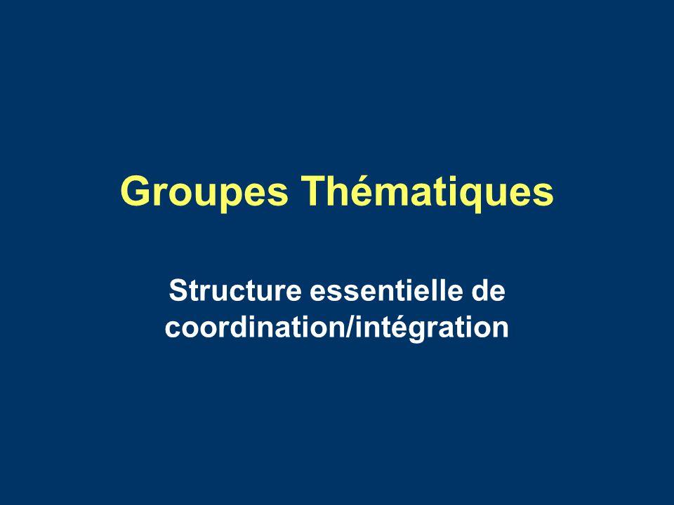 Groupes Thématiques Structure essentielle de coordination/intégration