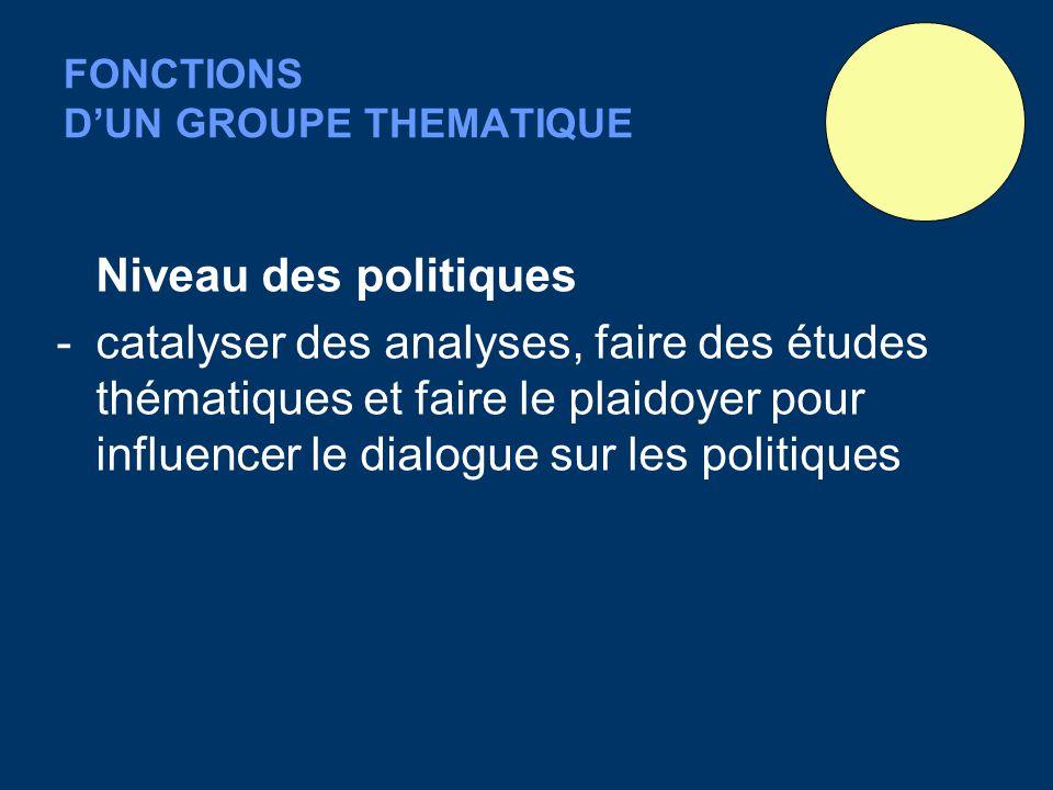 FONCTIONS DUN GROUPE THEMATIQUE Niveau des politiques -catalyser des analyses, faire des études thématiques et faire le plaidoyer pour influencer le dialogue sur les politiques