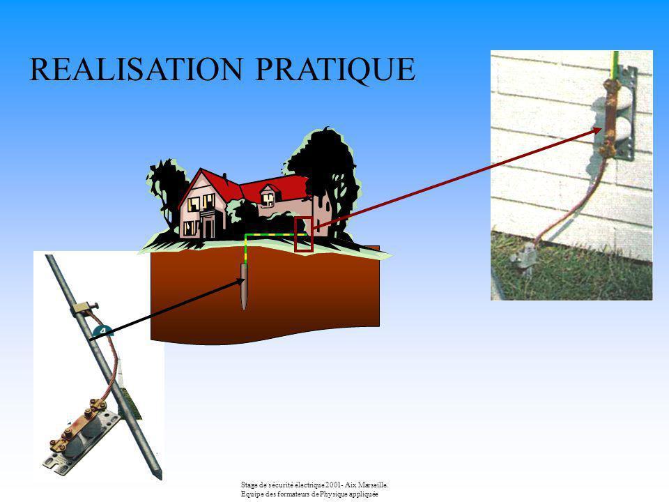 REALISATION PRATIQUE Stage de sécurité électrique 2001- Aix Marseille.