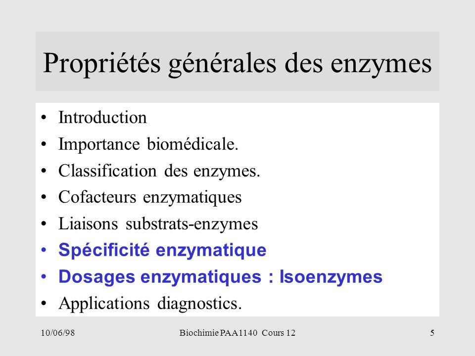 10/06/985Biochimie PAA1140 Cours 12 Propriétés générales des enzymes Introduction Importance biomédicale. Classification des enzymes. Cofacteurs enzym