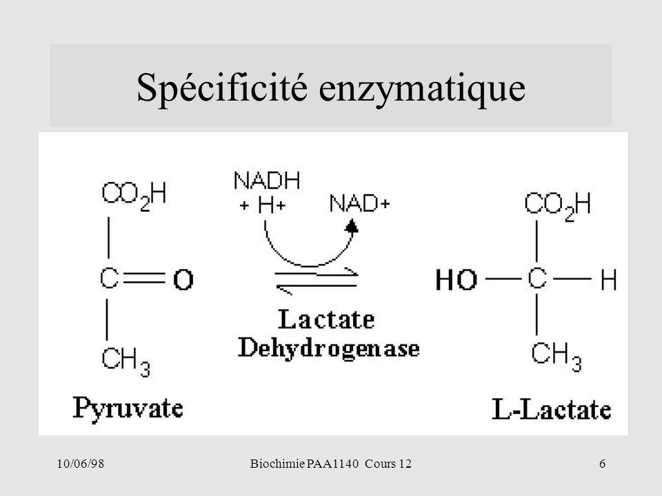 10/06/986Biochimie PAA1140 Cours 12 Spécificité enzymatique