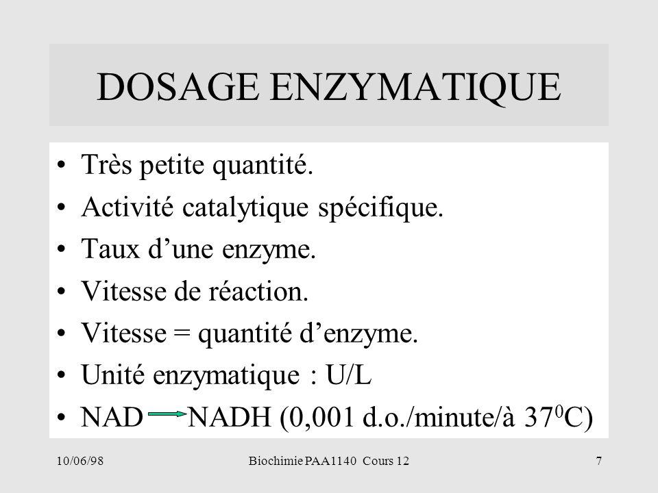 10/06/987Biochimie PAA1140 Cours 12 DOSAGE ENZYMATIQUE Très petite quantité. Activité catalytique spécifique. Taux dune enzyme. Vitesse de réaction. V