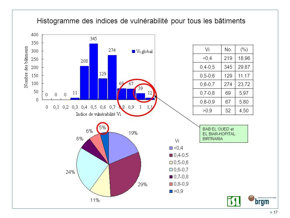 > 17 Histogramme des indices de vulnérabilité pour tous les bâtiments Vi No.(%) <0,421918,96 0,4-0,534529,87 0,5-0,612911,17 0,6-0,727423,72 0,7-0,8695,97 0,8-0,9675,80 >0,9524,50 BAB EL OUED et EL BIAR-HOPITAL BIRTRARIA