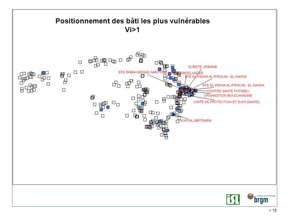 > 18 Positionnement des bâti les plus vulnérables Vi>1