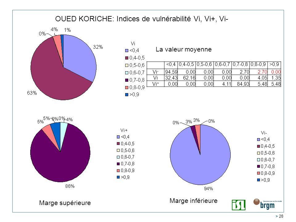 > 28 OUED KORICHE: Indices de vulnérabilité Vi, Vi+, Vi- <0,40,4-0,50,5-0,60,6-0,70,7-0,80,8-0,9>0,9 Vi - 94,590,00 2,70 0,00 Vi32,4362,160,00 4,051,35 Vi + 0,00 4,1184,935,48 La valeur moyenne Marge inférieure Marge supérieure