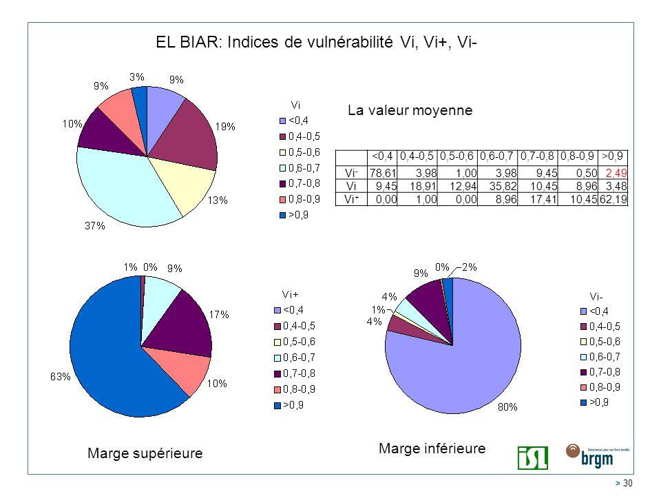 > 30 EL BIAR: Indices de vulnérabilité Vi, Vi+, Vi- <0,40,4-0,50,5-0,60,6-0,70,7-0,80,8-0,9>0,9 Vi - 78,613,981,003,989,450,502,49 Vi9,4518,9112,9435,8210,458,963,48 Vi + 0,001,000,008,9617,4110,4562,19 La valeur moyenne Marge inférieure Marge supérieure