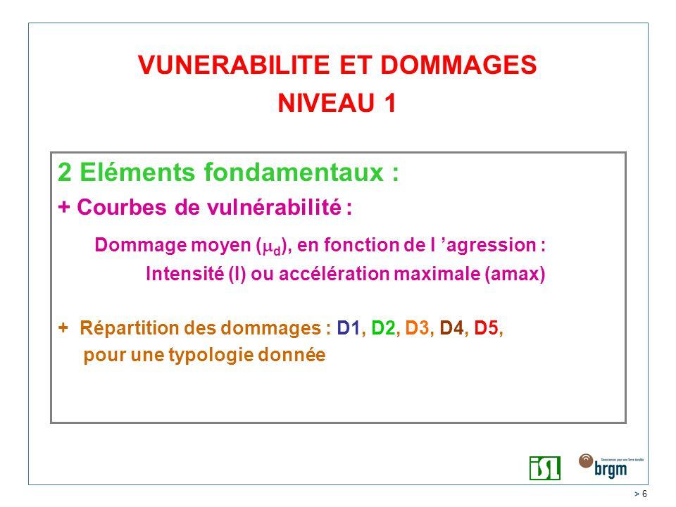 > 6 2 Eléments fondamentaux : + Courbes de vulnérabilité : Dommage moyen ( d ), en fonction de l agression : Intensité (I) ou accélération maximale (amax) + Répartition des dommages : D1, D2, D3, D4, D5, pour une typologie donnée VUNERABILITE ET DOMMAGES NIVEAU 1