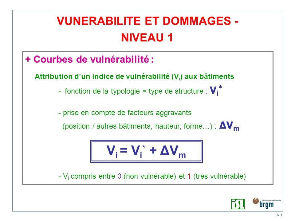 > 7 VUNERABILITE ET DOMMAGES - NIVEAU 1 + Courbes de vulnérabilité : Attribution dun indice de vulnérabilité (V i ) aux bâtiments - fonction de la typologie = type de structure : V i * - prise en compte de facteurs aggravants (position / autres bâtiments, hauteur, forme…) : ΔV m - V i compris entre 0 (non vulnérable) et 1 (très vulnérable) V i = V i * + ΔV m
