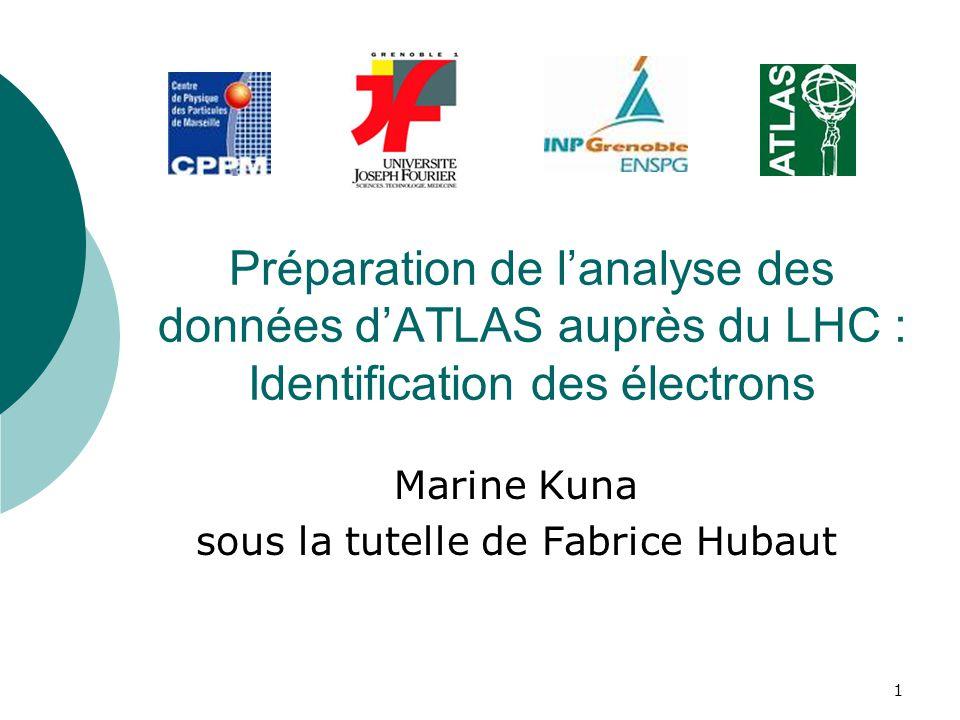 1 Préparation de lanalyse des données dATLAS auprès du LHC : Identification des électrons Marine Kuna sous la tutelle de Fabrice Hubaut
