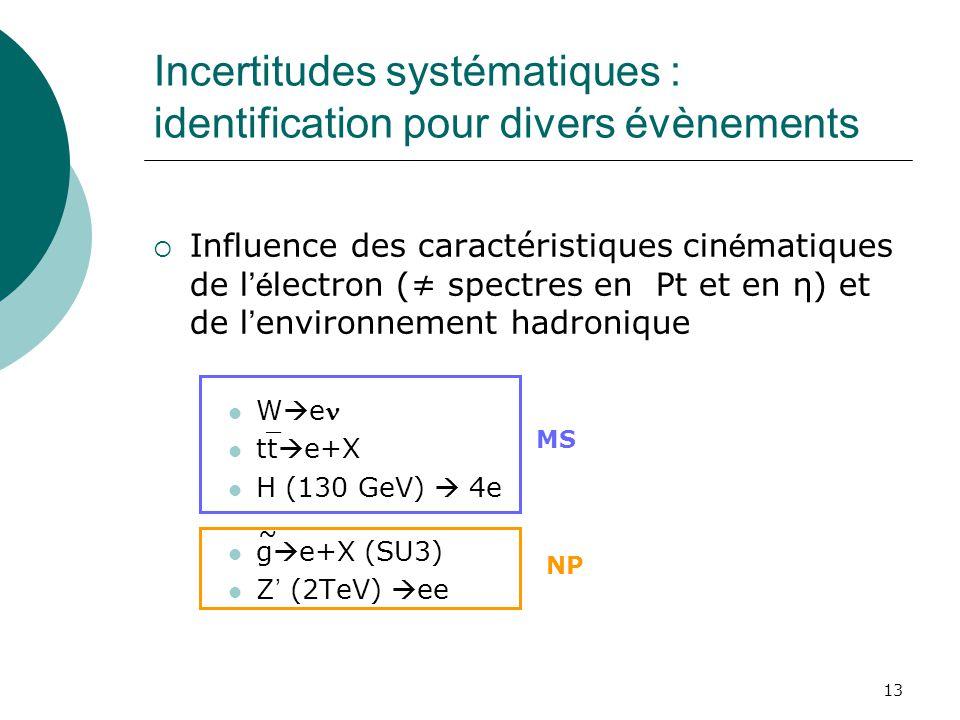 13 Incertitudes systématiques : identification pour divers évènements Influence des caractéristiques cin é matiques de l é lectron ( spectres en Pt et