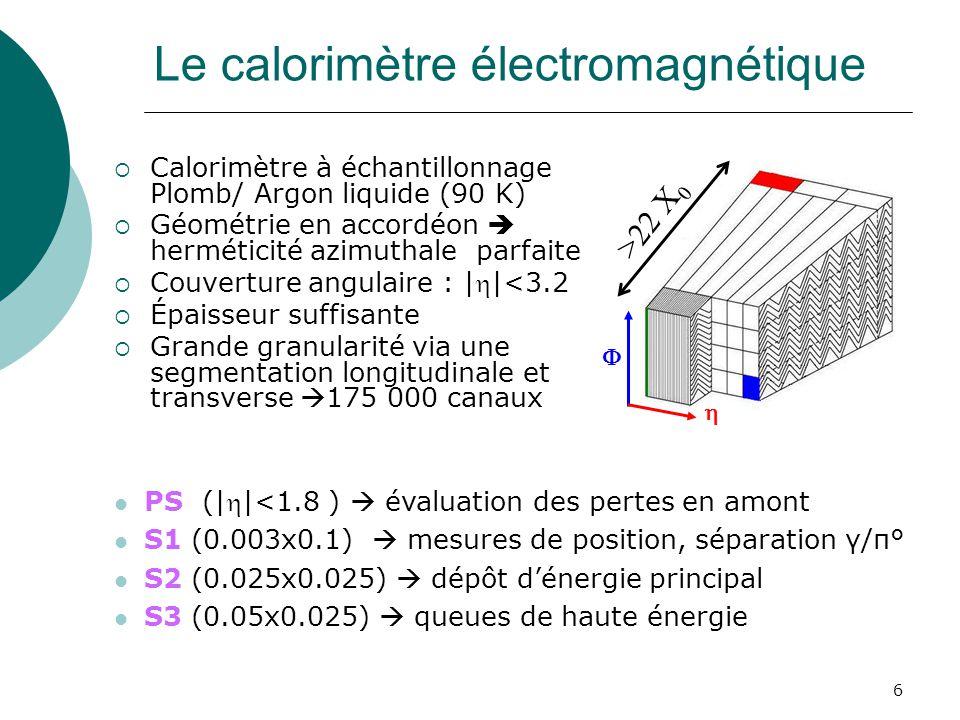 6 Le calorimètre électromagnétique Calorimètre à échantillonnage Plomb/ Argon liquide (90 K) Géométrie en accordéon herméticité azimuthale parfaite Co