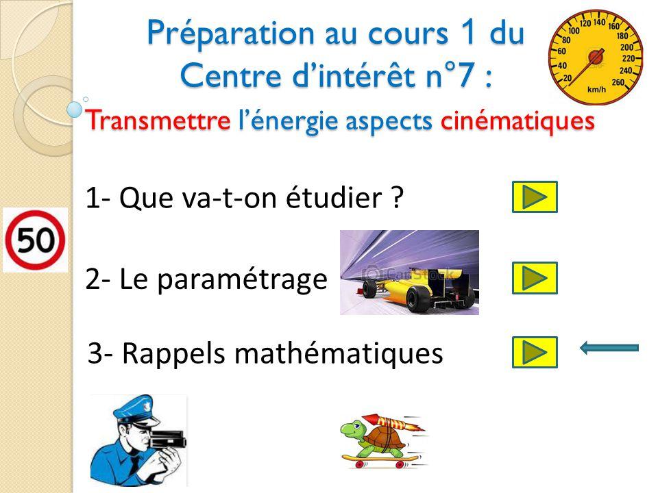 Préparation au cours 1 du Centre dintérêt n°7 : Transmettre lénergie aspects cinématiques 1- Que va-t-on étudier .