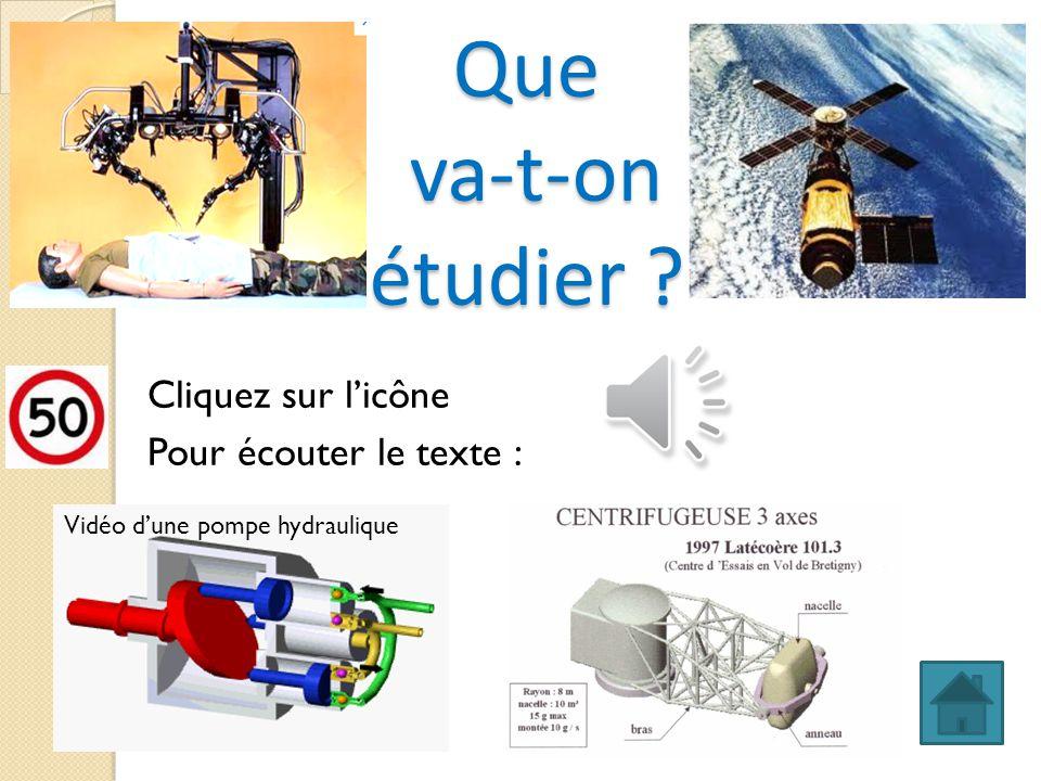 Que va-t-on étudier ? Cliquez sur licône Pour écouter le texte : Vidéo dune pompe hydraulique