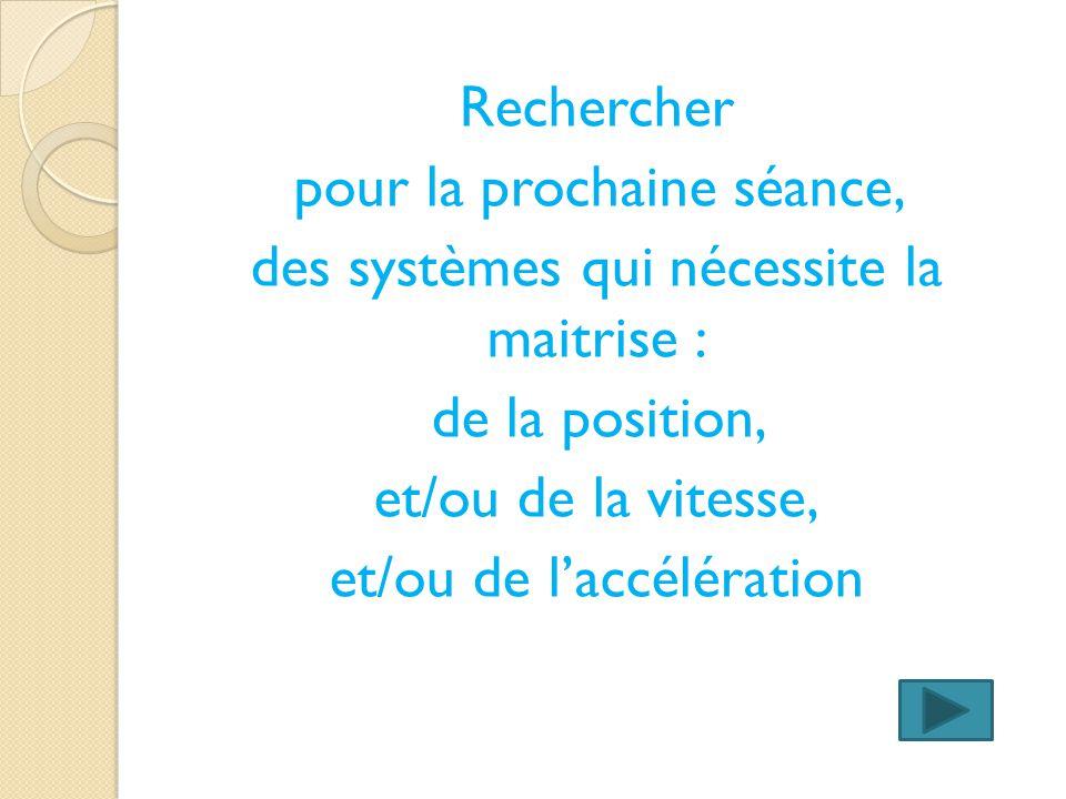 Rechercher pour la prochaine séance, des systèmes qui nécessite la maitrise : de la position, et/ou de la vitesse, et/ou de laccélération